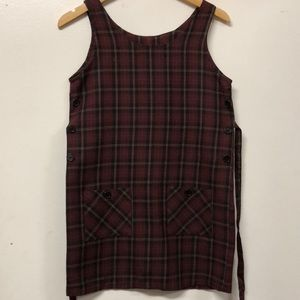 Vintage 90s Maroon Striped Overall Dress